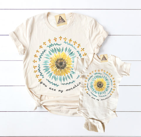 « YOU ARE MY SUNSHINE » MOMMY & ME // Cream Unisex Tee + Bodysuit or Tee