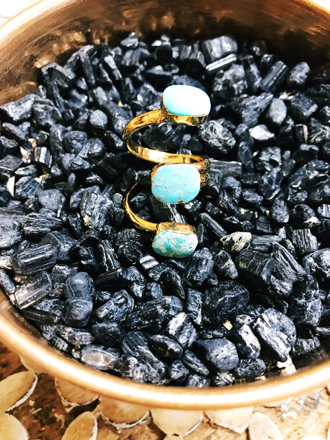 << TRIPLE STONE TURQUOISE >> ADJUSTABLE RING