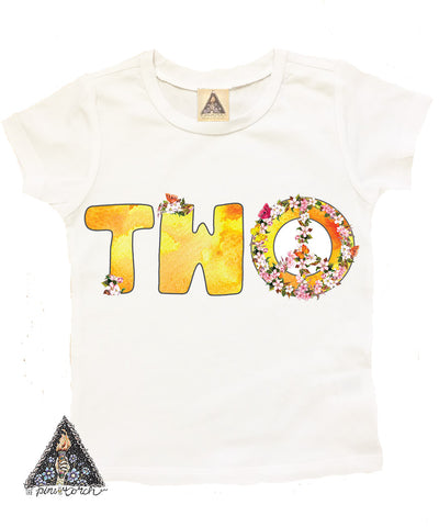 « TWO WITH PEACE SIGN » KID'S BIRTHDAY TEE
