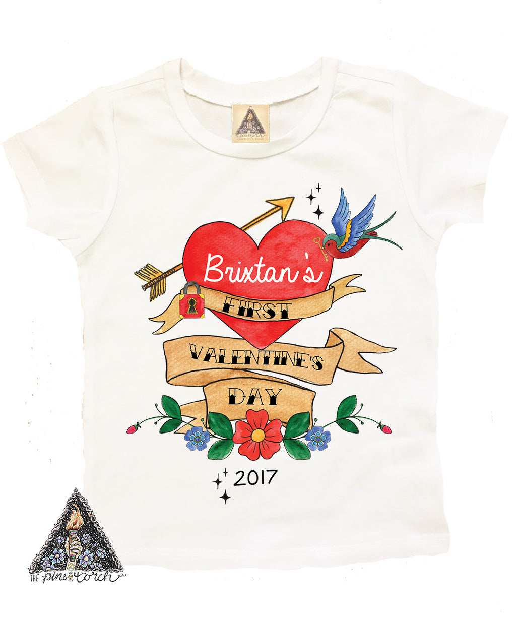 « FIRST VALENTINE'S DAY » CUSTOM KID'S TEE