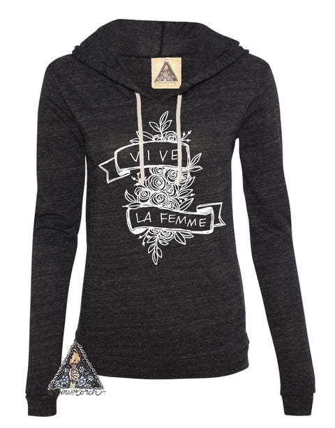 « VIVE LA FEMME » CHARCOAL or CAMO LIGHTWEIGHT HOODIE