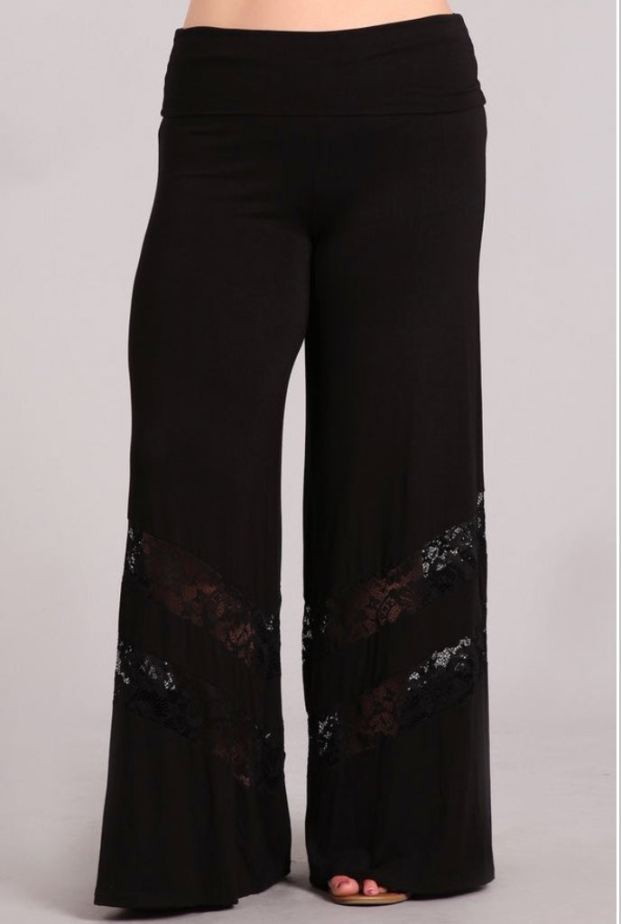 << NOT SO BASIC BLACK >> (PLUS SIZE) WIDE LEG PILAZZO PANTS