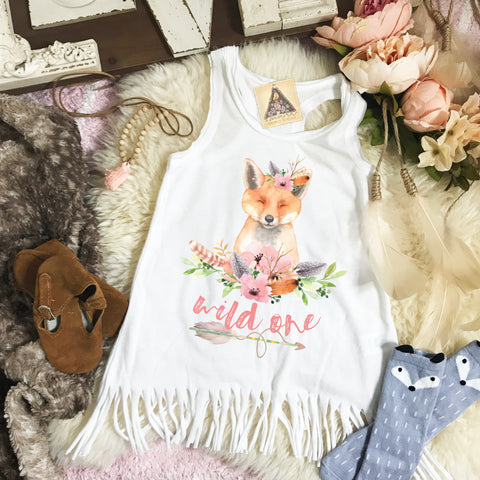 « WILD ONE FOX BIRTHDAY » KID'S FRINGE DRESS