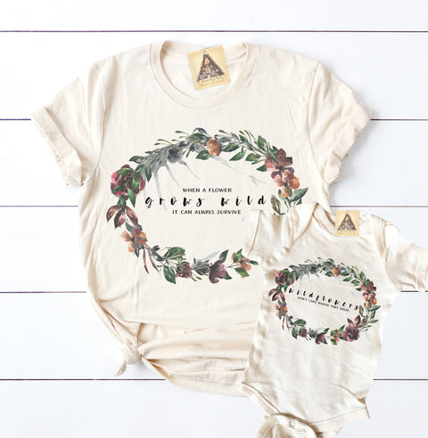 « WILDFLOWERS » MOMMY & ME // Cream Unisex Tee + Bodysuit