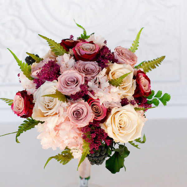 Marsala and Dusty Rose bouquet