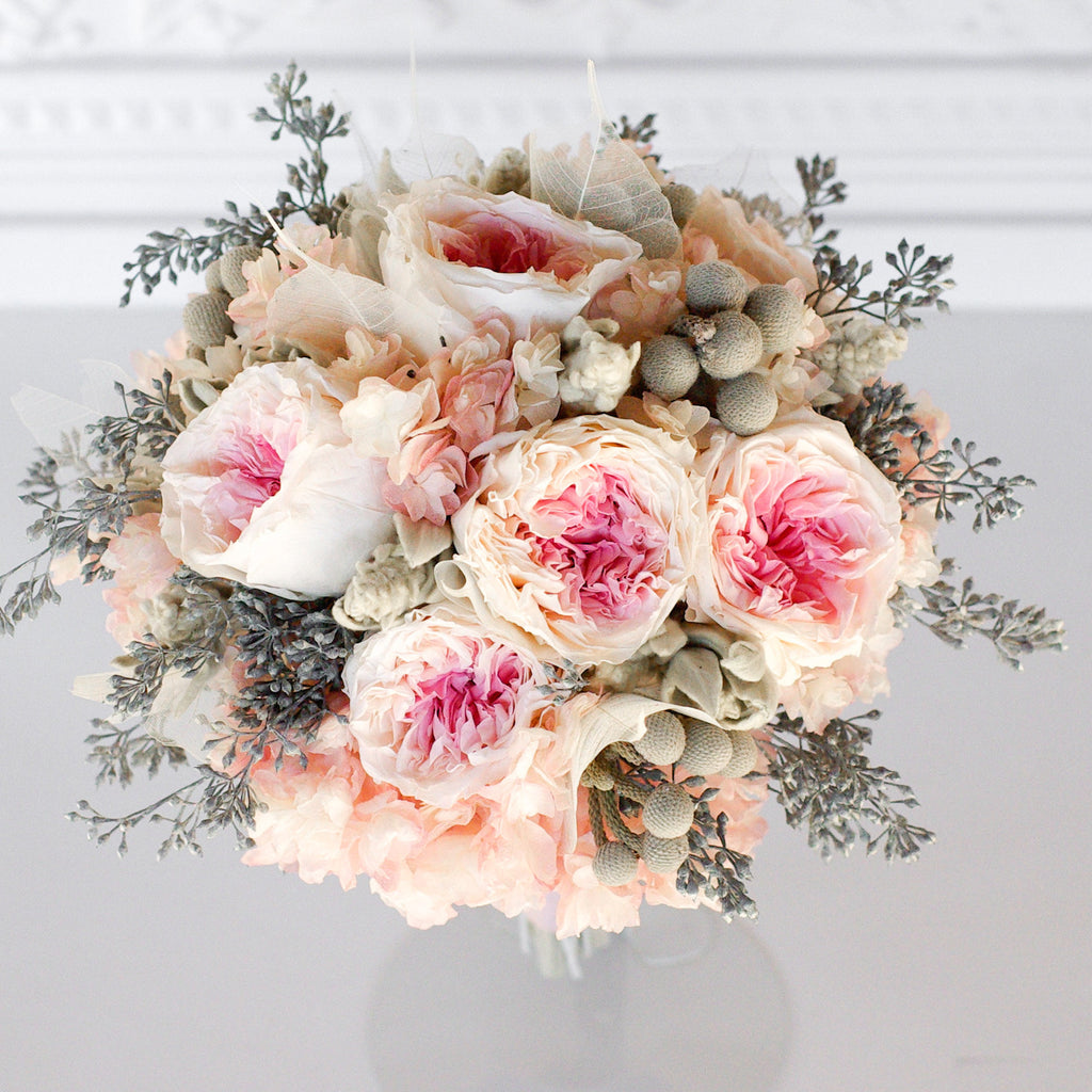 blush garden rose and grey bridal bouquet