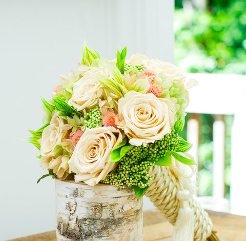 Blush and green forever rose garden bouquet