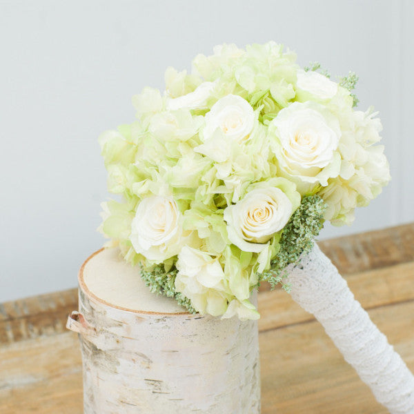 Green and white forever rose bridal bouquet