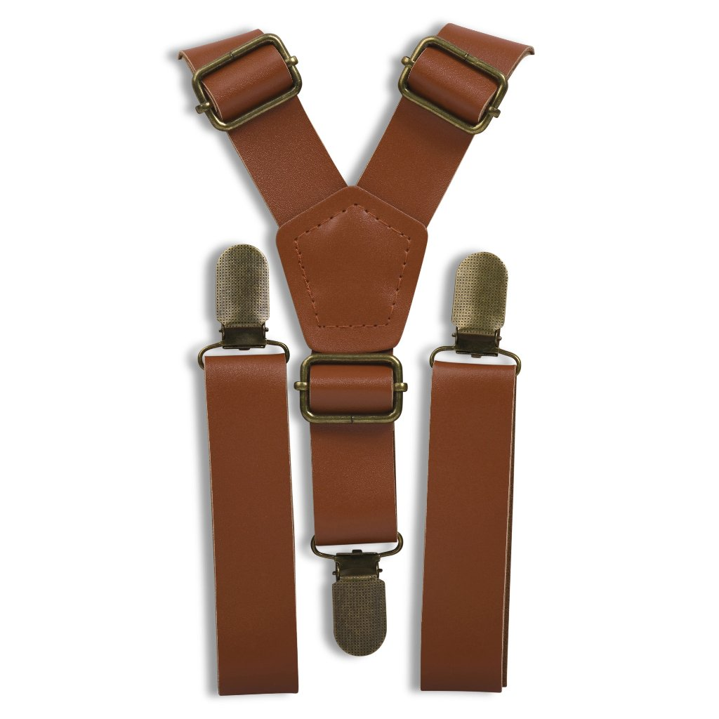 Cognac Leather Suspenders