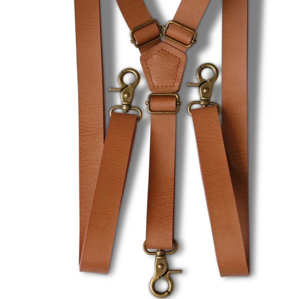 Vintage Tan Hook Suspenders