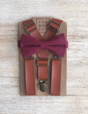 Caramel Suspenders with Wine Bow Tie