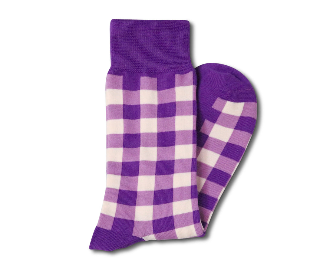 Purple Gingham Socks