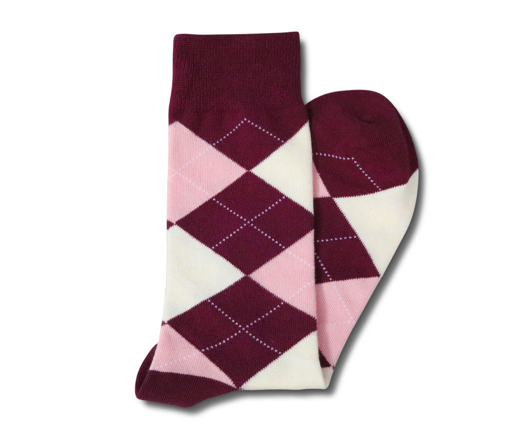 Burgundy and Pink Argyle Socks