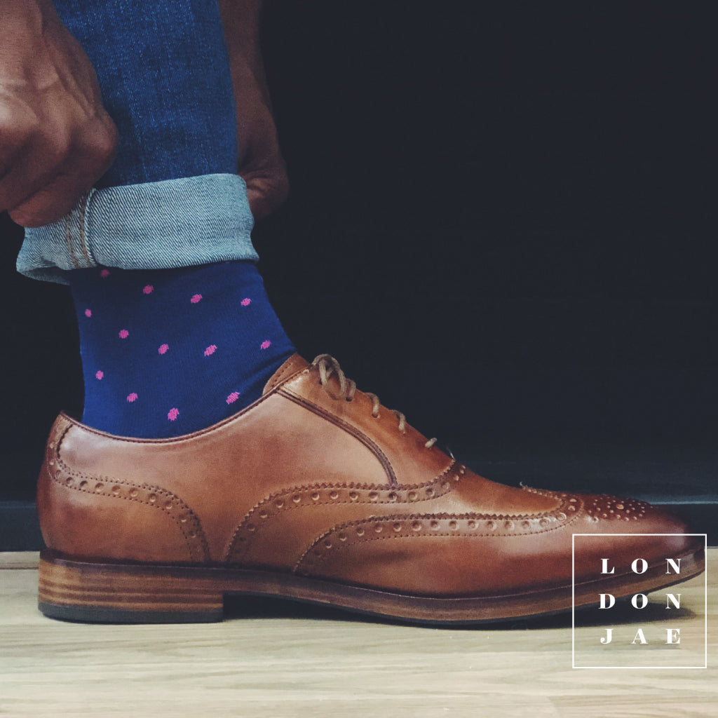 Navy with Pink Dots Socks