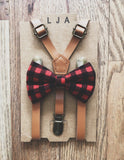 Caramel Skinny Suspenders with Buffalo Plaid Bow Tie