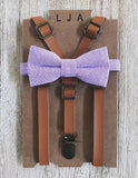 Caramel Skinny Suspenders with Lavender Cotton Bow Tie