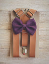 Caramel Suspenders with Plum Bow Tie