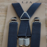 Charcoal Grey Elastic Suspenders