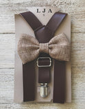 Coffee Suspenders with Honey Brown Bow Tie