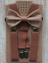 Honey Brown Burlap with Vintage Tan Middle/ Cognac elastic suspenders Set