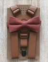 Light Brown Suspenders & Desert Coral Bow Tie Set