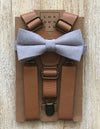 Light Brown Suspenders with Light Grey Cotton Bow Tie Set