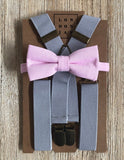 Light Grey Elastic Suspenders with Light Pink Cotton Bow Tie