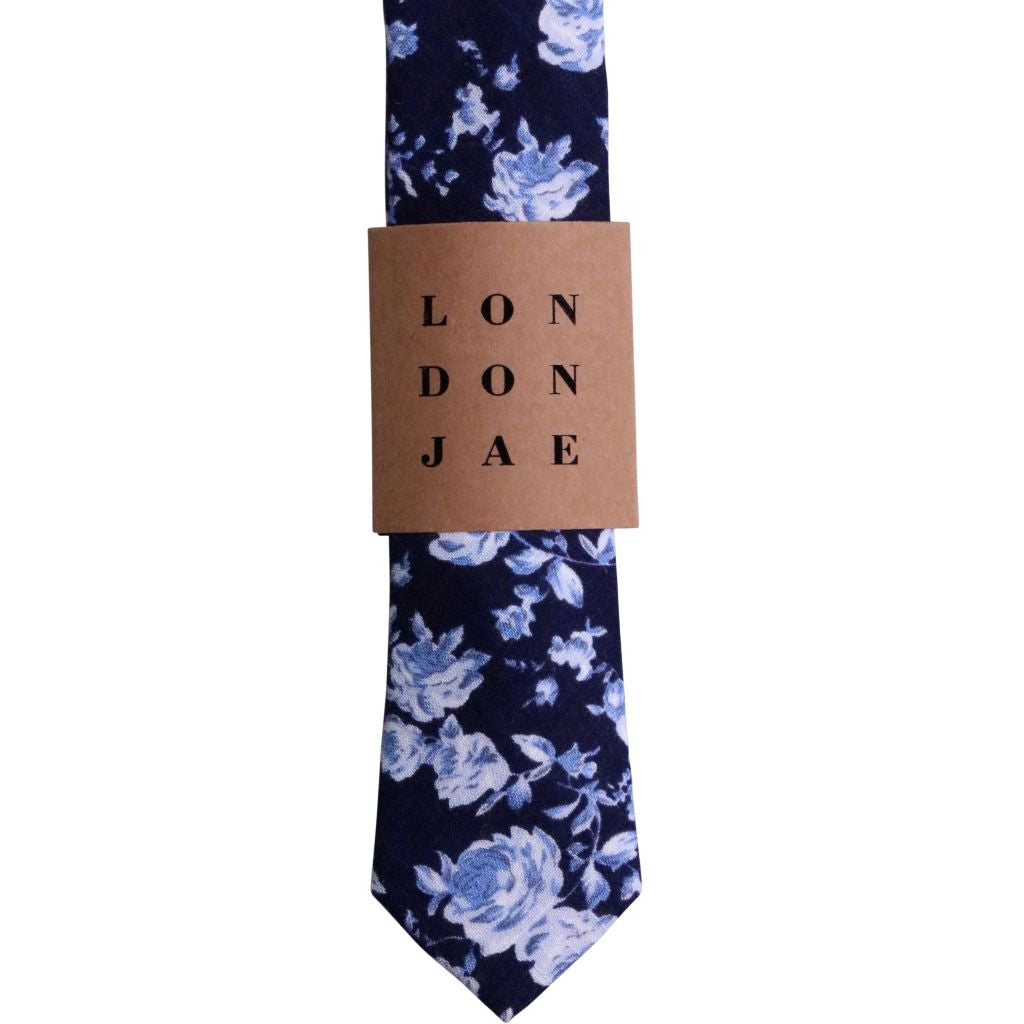Navy and Light Blue Floral Neck Tie