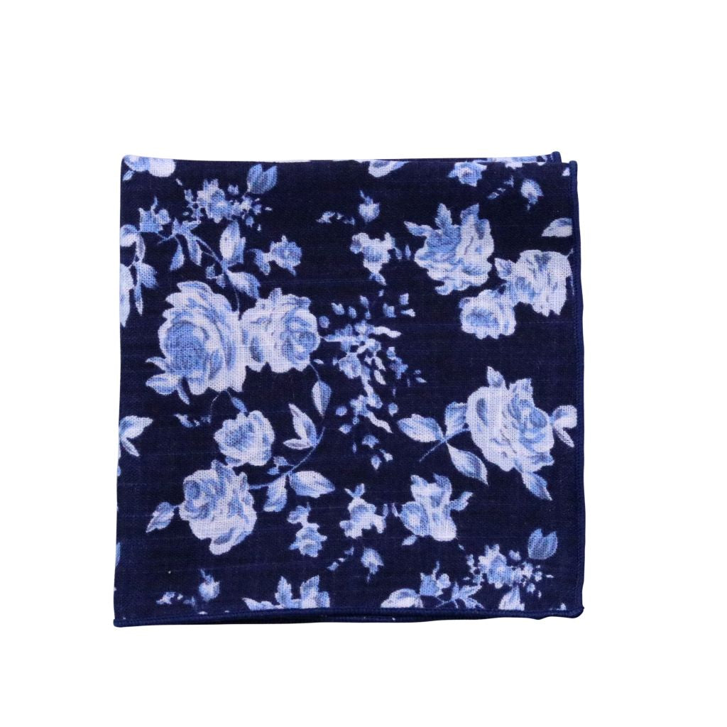 Navy & Light Blue Floral Pocket Square