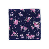 Navy & Pink Floral Pocket Square