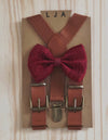 New Style Brown Suspenders with Wine Bow Tie