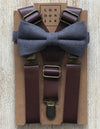 "Steel Grey Cotton Bow Tie with 1"" Coffee Brown Suspenders Set"