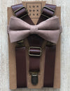 "Taupe Cotton Bow Tie with 1"" Coffee Brown Suspenders Set"