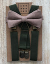 Taupe Cotton Bow Tie with Olive Suspender Set