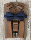Vintage Tan Suspenders with Navy Bow