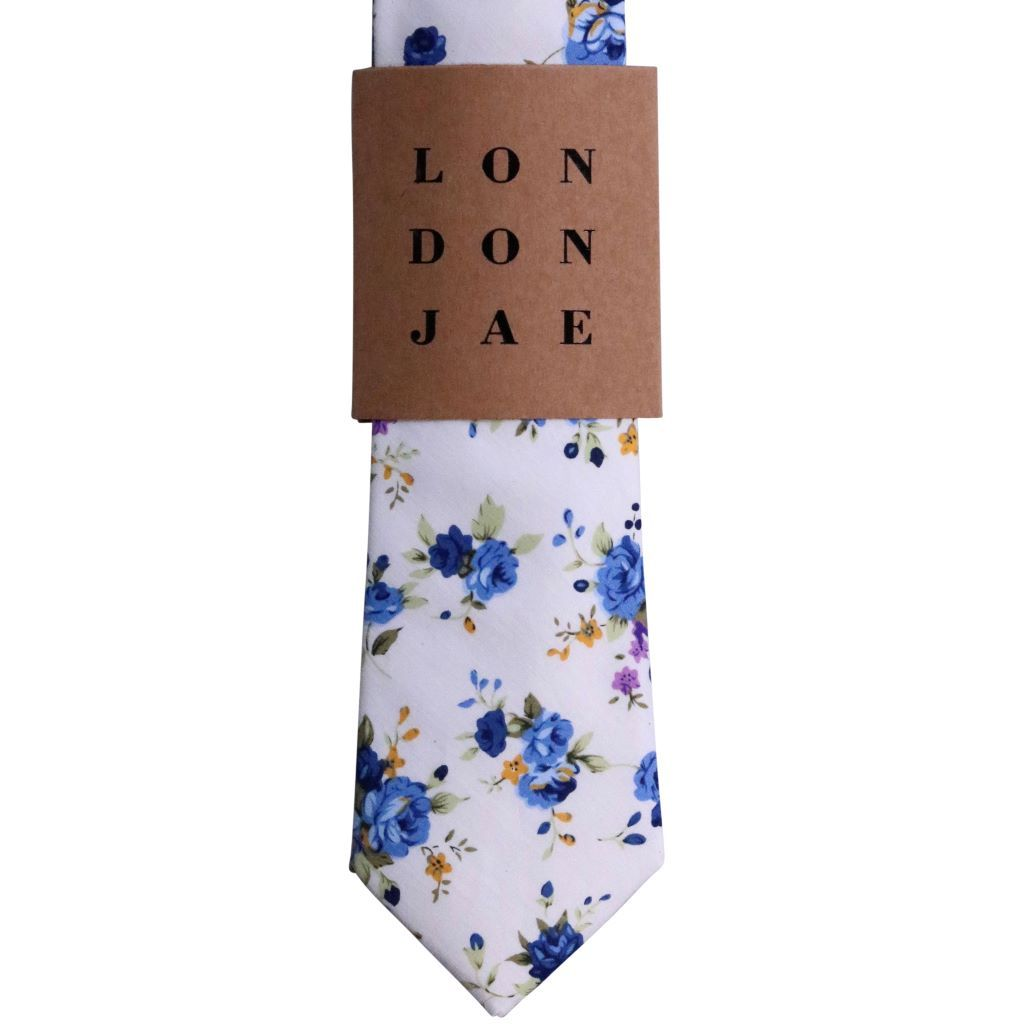 White and Blue Floral Neck Tie