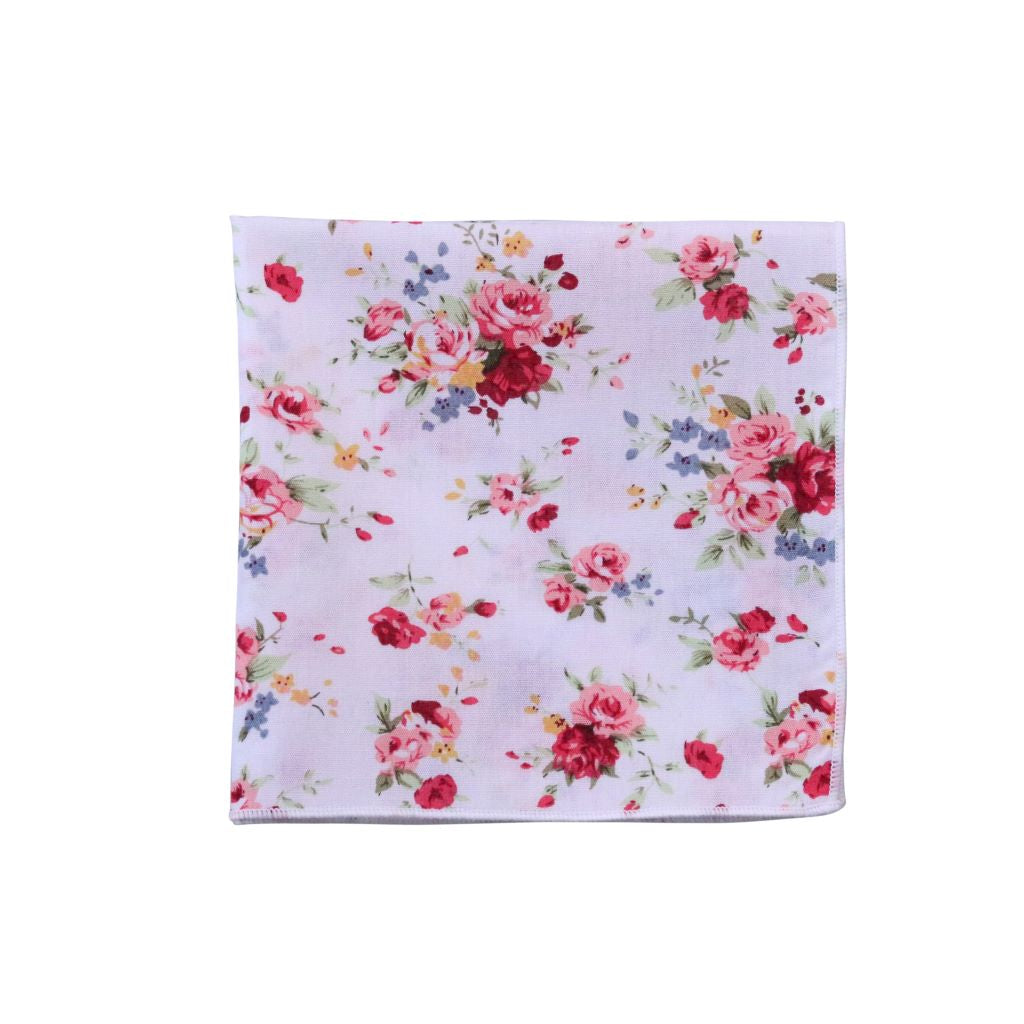 White & Wine Floral Pocket Square
