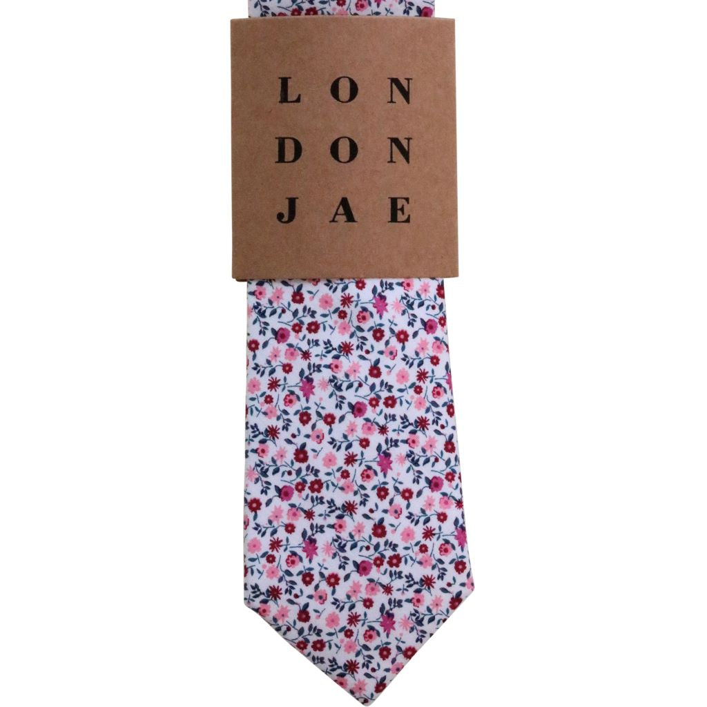 Wine and Blush Floral Neck Tie