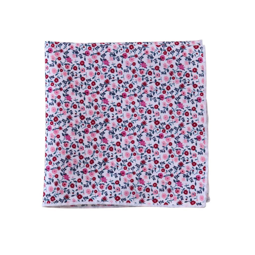 Wine & Blush Floral Pocket Square
