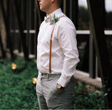 Caramel Skinny Suspenders with Floral Bow Tie