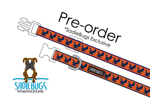 Orange and Blue Eagle Dog Collar
