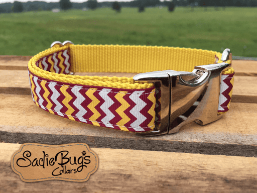 Florida State Seminoles Dog Collar - Burgundy and Gold/Yellow Chevron FSU