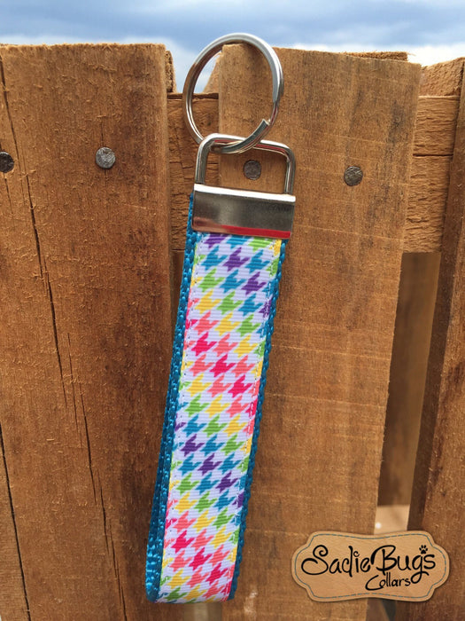 Colorful Houndstooth Key Fob Wristlet