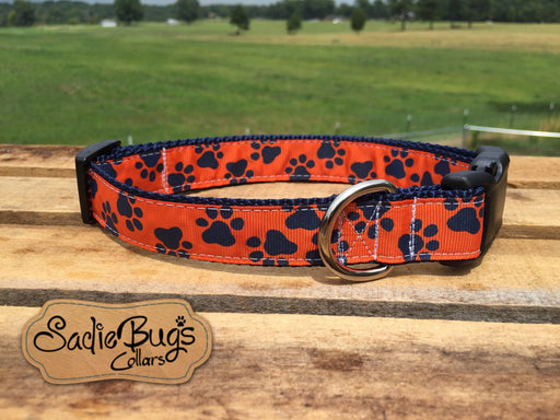 Orange and Blue Paw Print dog collar