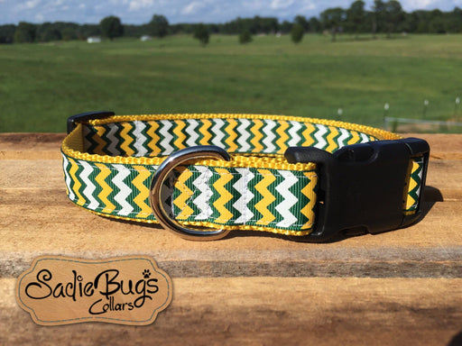 Green Bay Packers Dog Collar, Green and Yellow Chevron, Go Packers!