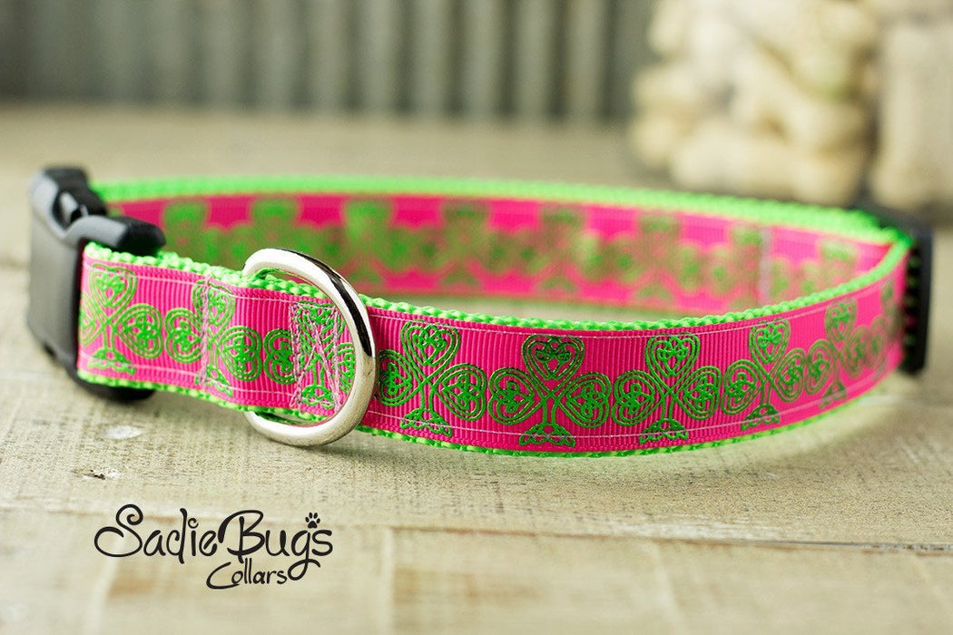 St. Patricks Day Shamrock dog collar - Hot Pink