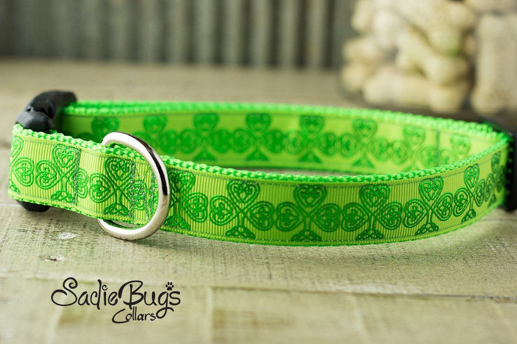 St. Patricks Day Green Shamrock dog collar