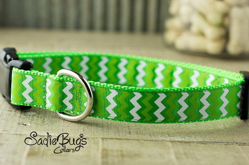 St. Patricks Day Chevron dog collar - Lime Green
