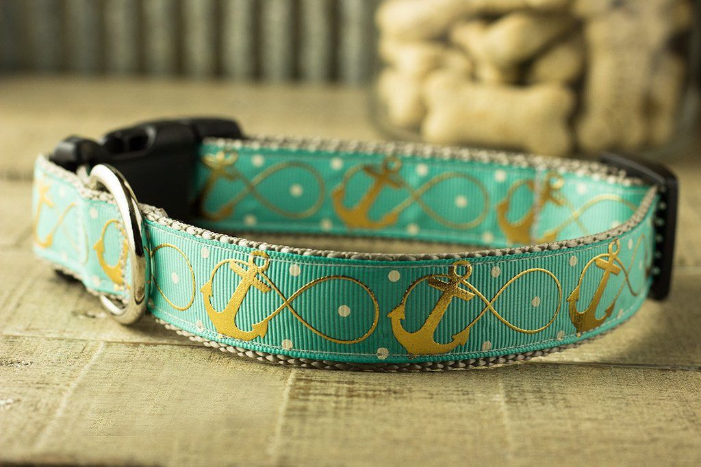 Infinity anchor dog collar - gold foil anchors and polka dots