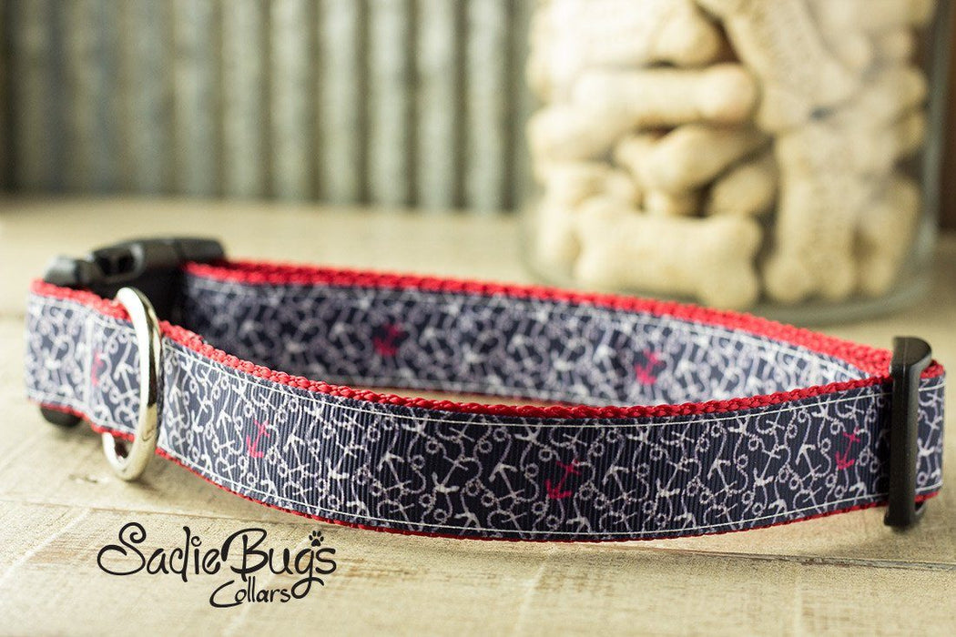 Ahoy There dog collar - Navy Blue Nautical Anchor